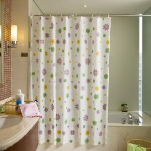 物有物语 浴室用品加厚浴帘防水防霉白底紫色小花朵浴帘布 紫色小花加铜扣