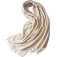 秋冬季山羊绒围巾女水波纹纯色男女通用保暖cashmere披肩两用