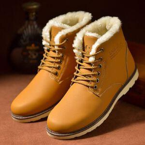 冬季新品2018款棉鞋男加绒男士雪地靴男鞋休闲鞋防水加厚保暖马丁靴棉短靴子皮鞋子D17ASH