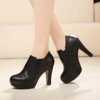 【包邮】2017春季新款高跟鞋粗跟韩版单鞋真皮高跟防水台深口黑色圆头女鞋208QNML