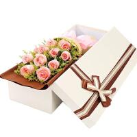 情人节鲜花速递同城北京石家庄11枝粉玫瑰花束礼盒