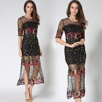 欧洲站年春夏走秀款时尚女装高端重工刺绣长裙修身连衣裙