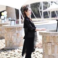 中长防晒衣女士夏装新韩版百搭防紫外线薄外套翻领七分袖开衫沙滩潮