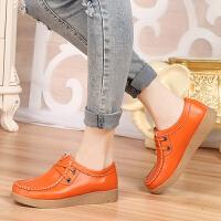【包邮】春季平底女式皮鞋中年休闲短靴妈妈鞋孕妇单鞋软底真皮系带蜗牛鞋ALY