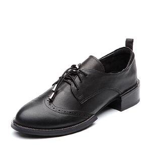 BASTO/百思图2018春季专柜同款羊皮系带休闲方跟女单鞋RMD20AM8