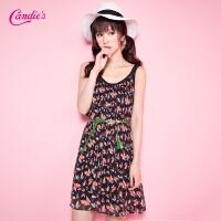 Candie's夏新款 清爽无袖背心裙百褶通勤中长款连衣裙女30062366