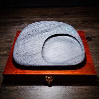 安徽歙砚砚台10寸 原石水波纹砚台 文房四宝木盒书法用品