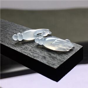 高冰掌上明珠一对,饱满超厚装精致,玉质细腻光滑水润透光(可镶嵌做项坠、耳坠等)【FCD6-8A1506】