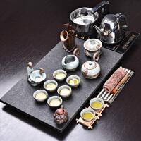 家用乌金石茶盘实木茶道茶台泡茶壶茶杯整套紫砂茶具套装
