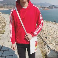慈姑冬季迷彩服连帽加绒卫衣男士宽松外套 套头假两件运动韩版学生潮