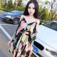 雪纺连衣裙潮 夏季新品复古印花大气时髦露肩收腰显瘦吊带裙学生