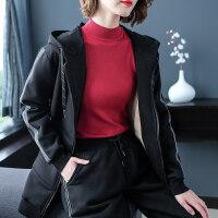 加绒外套女 黑色厚卫衣加厚中长款连帽宽松冬装 黑色加绒