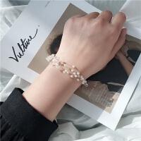 韩国气质森系温柔透明鱼线珍珠手链小清新多层小米珠手镯手饰 手链