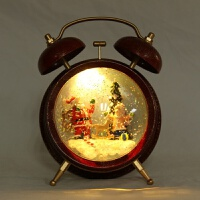 复古闹钟圣诞老人木马小孩 床头灯LED发光摆件雪花定制232 18*10*23