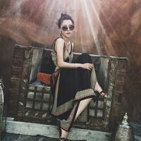 巴厘岛海滩裙沙滩裙女夏2018新款显瘦泰国海边度假裙子三亚连衣裙 几何下摆长裙-黑色