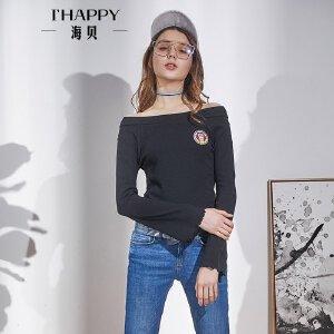 海贝2018春装新款女 性感一字领露肩长袖喇叭袖修身套头T恤黑色
