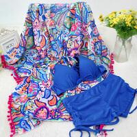 性感泳衣女士平角比基尼三件套大码罩衫泡温泉韩国小香风聚拢泳装 蓝色