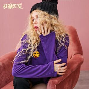 【2件3折到手价:78】妖精的口袋秋装新款中长款上衣宽松chic纯棉长袖紫色t恤女