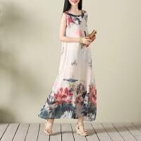 实拍民族风连衣裙大码女装夏季中国风水墨画印花中长款无袖背心裙 图片色