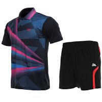 羽毛球服套装男夏季宽松休闲短袖运动套装速干透气乒乓网球比赛训练套装