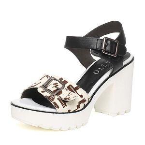BASTO/百思图夏季专柜同款牛毛/牛皮时尚粗高跟女凉鞋TVU01BL6