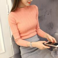 春秋新款半高领女士紧身毛衣套头时尚打底衫色长袖针织衫女上衣 均码合适80-130斤