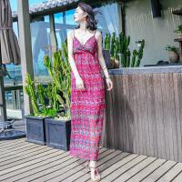 夏季新品女装无袖吊带雪纺连衣裙长裙波西米亚海边度假沙滩裙 图片色X559