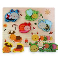 儿童男女孩0-1-2岁宝宝动物交通积木木质立体拼图嵌板