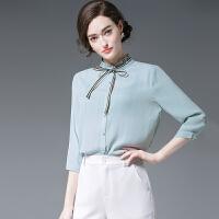 秋装木耳边领衬衫女系带淑女气质上衣简约休闲雪纺衬衣长袖打底衫