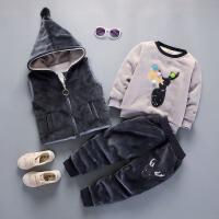 童装男童套装2017新款2男宝宝秋冬装1-3周岁三件套儿童加绒加厚潮