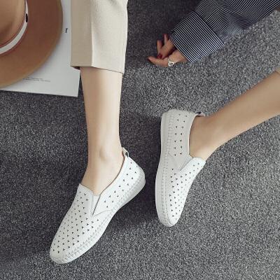 ZHR2018春季新款韩版小白鞋平底乐福鞋网洞鞋子真皮单鞋学生女鞋M200