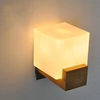 【满199-100】创意木灯 木艺楼梯 玄关过道灯 卧室床头灯 玻璃实木壁灯YX-LMD-0019