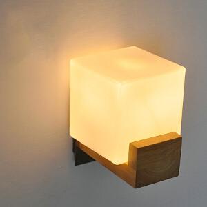 【每满100-50】创意木灯 木艺楼梯 玄关过道灯 卧室床头灯 玻璃实木壁灯YX-LMD-0019