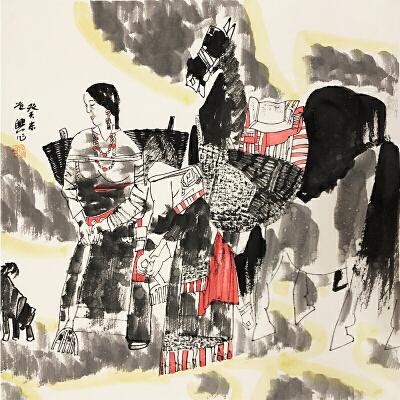 张道兴《人物图》著名画家