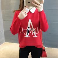 2018春装新款韩版方领学生女士毛衣加厚宽松百搭时尚长袖打底衫潮