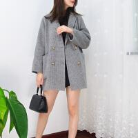 2018格子双面羊绒羊毛大衣女短款毛呢外套女呢子秋冬宽松
