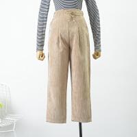 FSLL#25秋冬季韩版纯色高腰双口袋灯芯绒休闲裤 C1