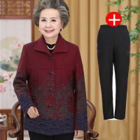 中老年女装毛呢外套老年人春装女60-70岁老人衣服老太太奶奶套装