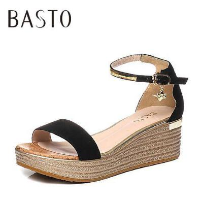 BASTO/百思图2017夏季专柜同款羊绒皮简约一字带坡跟女凉鞋TG217BL7