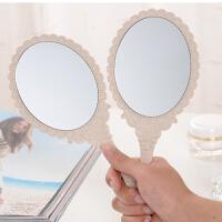 美容院化妆镜子便携随身牙科复古花边镜高清手柄化妆镜手拿手持