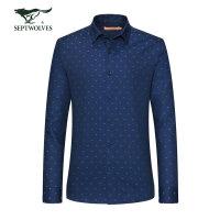 七匹狼长袖衬衫 男士时尚提花小方领休闲长袖衬衣男秋季新款
