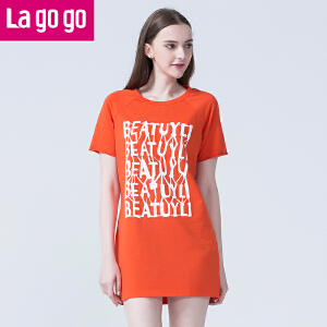 Lagogo夏季新款圆领印花遮肉显瘦短袖T恤连衣裙女中长款宽松休闲