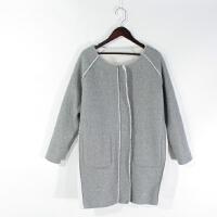 O07119精品秋冬新款圆领拉链显瘦女羊羔绒一体两面穿毛呢外套