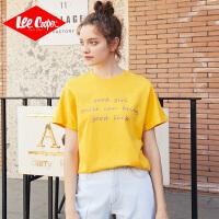 Lee Cooper纯棉T恤女式夏季新款宽松短袖半袖显瘦字母印花休闲舒适女式t恤