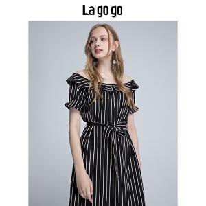 【秒杀价137.7】Lagogo 2019年夏季新款条纹短袖连衣裙女蕾丝拼接短裙 休闲裙子HALL355F34