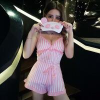 2018夏季新款韩版性感V领露肩拼接条纹吊带背心睡衣三件套套装潮