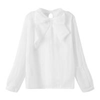 苛苛绮2018新款韩版女上衣甜美打底衫蕾丝衫蝴蝶结长袖套头雪纺衫 白色