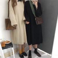 秋冬韩版宽松大码女装中长款针织衫套头毛衣显瘦气质连衣裙女裙子