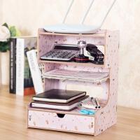 桌面木质收纳盒办公室用品文件架书本整理电话架多功能多层置物架