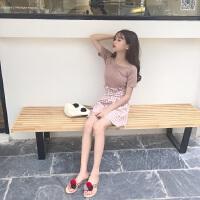 韩版时尚休闲套装夏装一字领T恤上衣女+高腰阔腿裤短裤两件套潮